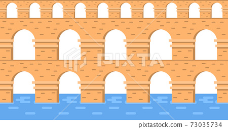 Stone bridge aqueduct vector. City architecture element and ancient bridge-construction across the river with carriageway isolated 73035734