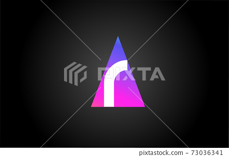 Alphabet letter R logo icon for business and company. Pink blue triangle design 73036341