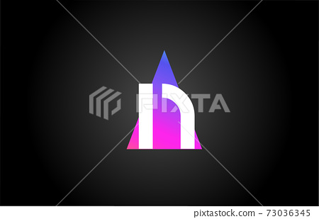 Alphabet letter N logo icon for business and company. Pink blue triangle design 73036345