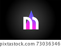 Alphabet letter M logo icon for business and company. Pink blue triangle design 73036346