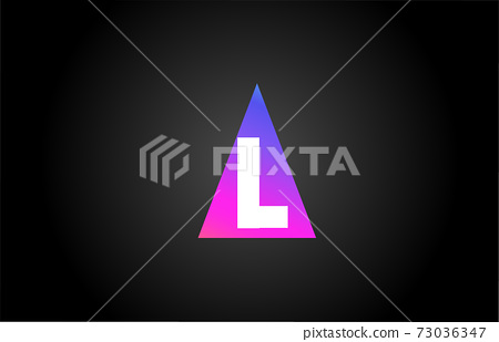 Alphabet letter L logo icon for business and company. Pink blue triangle design 73036347