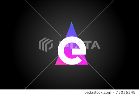 Alphabet letter E logo icon for business and company. Pink blue triangle design 73036349