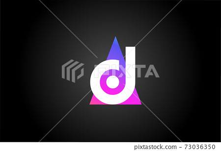 Alphabet letter D logo icon for business and company. Pink blue triangle design 73036350