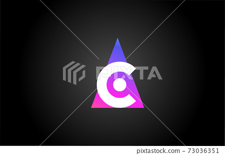 Alphabet letter C logo icon for business and company. Pink blue triangle design 73036351