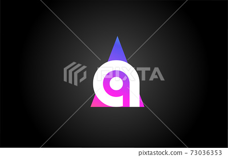 Alphabet letter A logo icon for business and company. Pink blue triangle design 73036353