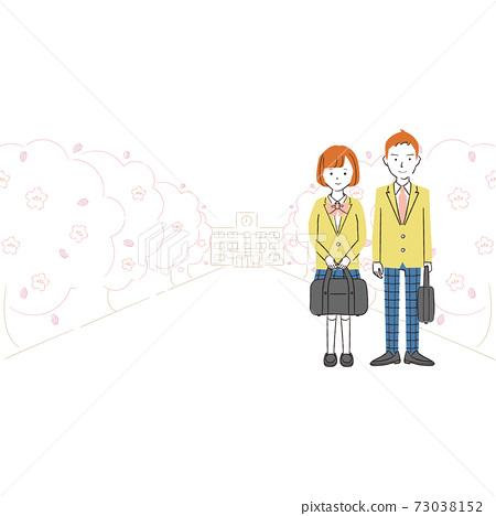 手繪線描彩色插圖制服的男女學生站成一排的櫻花樹 73038152