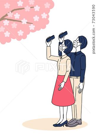 벚꽃, 스마트폰, 커플 73043590