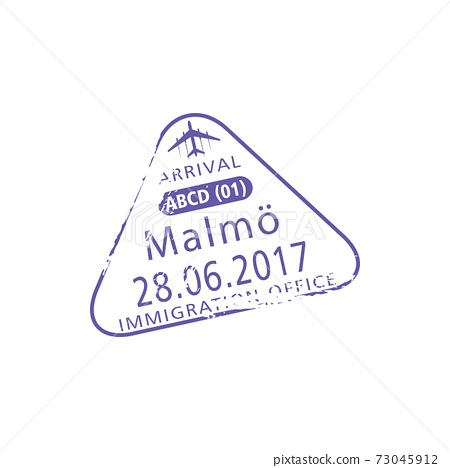 Sweden immigration office Malmo visa stamp isolate 73045912