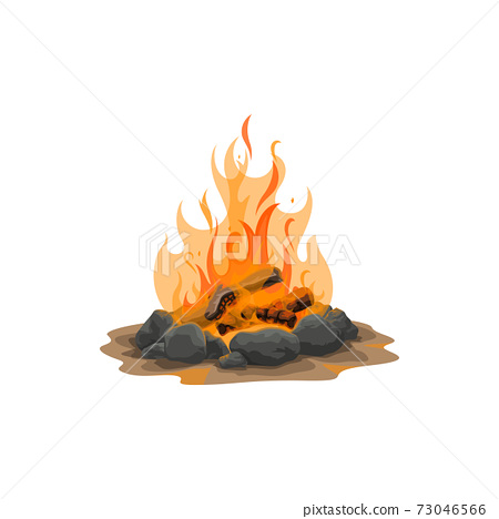 Campfire icon, hunting and camping vector 73046566