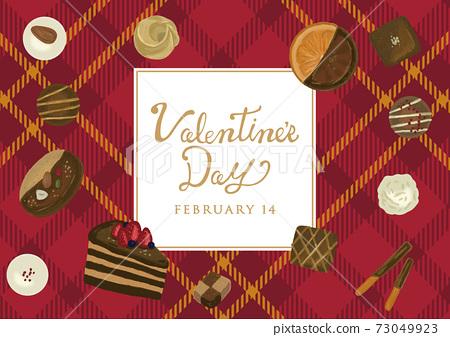 手繪觸控巧克力糖果格子呢情人節海報 73049923