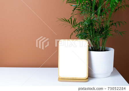 Wooden frame copyspace and green plant on white table with dark orange wall background 73052284