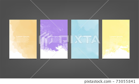 Set of colorful vector watercolor backgrounds for poster, brochure or flyer, Bundle of watercolor posters, flyers or cards. Banner template. 73055841