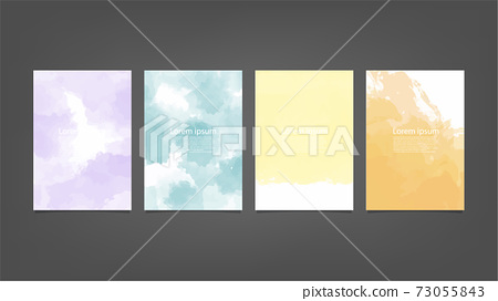 Set of colorful vector watercolor backgrounds for poster, brochure or flyer, Bundle of watercolor posters, flyers or cards. Banner template. 73055843