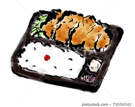 手繪日式炸豬排午餐插圖 73056342
