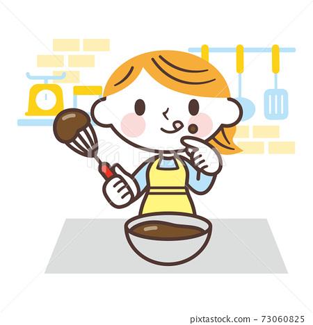 수제 초콜릿의 맛을하는 여성 73060825