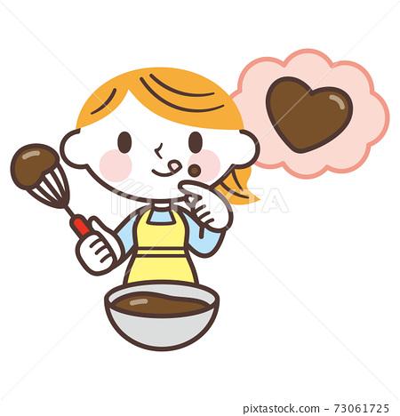 발렌타인 초콜렛을 만드는 여자 73061725