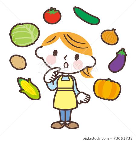 各种蔬菜和妇女 73061735