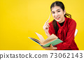 A female writer or journalist is thinking about writing in a book and a pencil pointing to a head, A Blogger is thinking about writing a review on yellow background  in writer blogger concept. 73062143