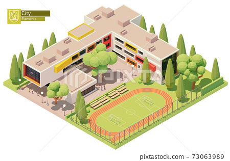 Vector isometric school building 73063989