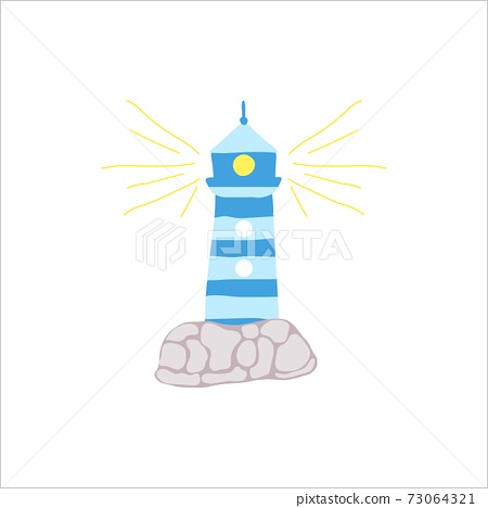Icon of hand draw blue ighthouse with stones and rays. Isolated vector illustration. 73064321