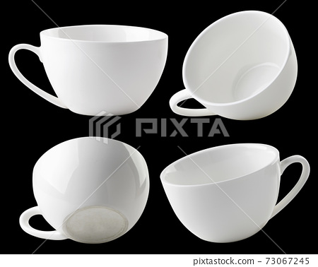 Set of white empty cups of different types on a 73067245