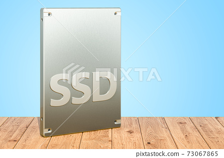 Solid state drive SSD on the wooden planks, 3D rendering 73067865