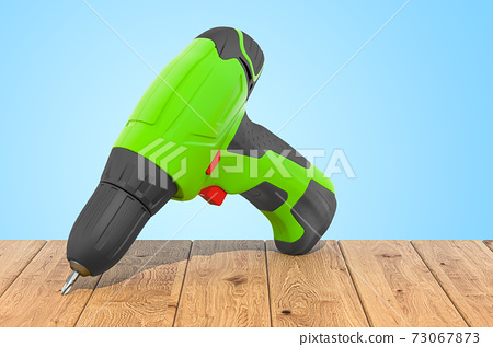 Screw gun on the wooden planks, 3D rendering 73067873