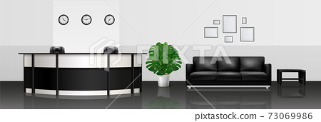 Office Interior Realistic Illustration 73069986