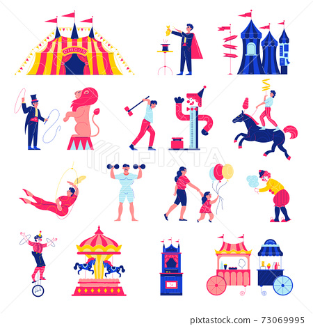Circus Funfair Icons Collection 73069995