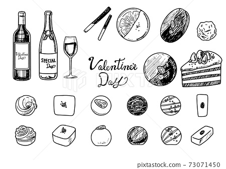 手繪素描觸摸情人節巧克力和酒圖 73071450