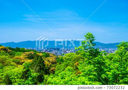 京都的新鮮綠色清水寺地區和城市景觀 73072232