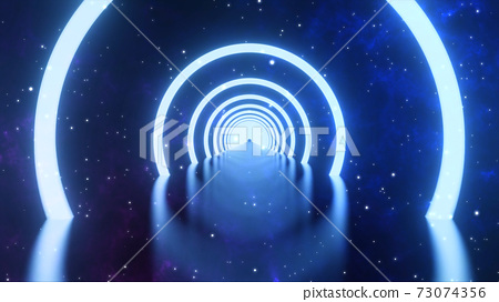 3D rendering. Loop motion of glowing neon ring and on dark galaxy star background. Neon light abstract background. Circles laser show fashion. virtual reality outer space with way star space panorama 73074356