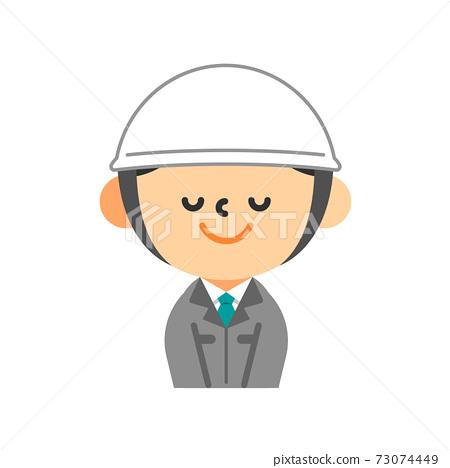 一個穿著頭盔的工作服的男人鞠躬 73074449