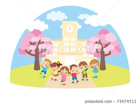 可愛的小學兒童和小學建築景觀圖圖標 73074511