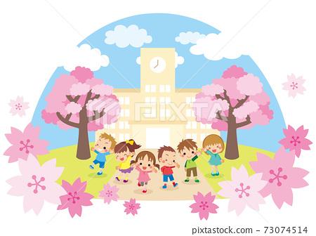 可愛的小學兒童和小學建築景觀圖圖標 73074514