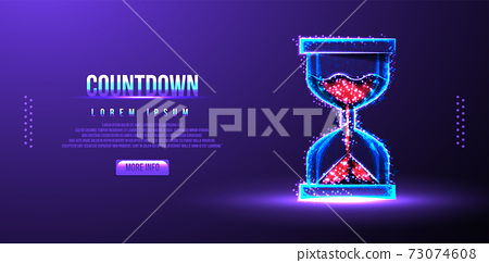 countdown sandglass low poly wireframe vector illustration 73074608
