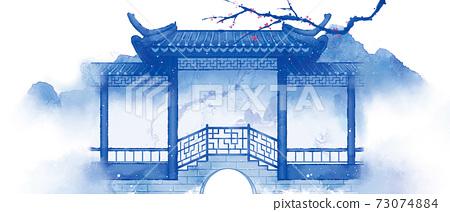 古風場景青花系列建築002 73074884