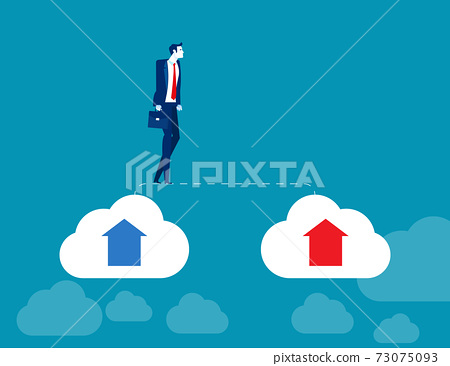Businessman walks from old cloud to new cloud. Changing business 73075093