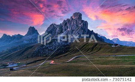 Mountain road in Italy Alps, Giau Pass high alpine pass, Passo Giau popular travel destination in Dolomites, Dolomites, Italy. 73075142