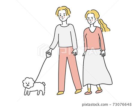 一對夫婦遛狗 73076648