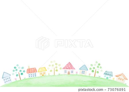 溫柔可愛的手繪水彩城市風光7 73076891