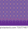 Embroidered ethnic pattern. thai silk and tribal motifs. Striped ornament hand drawn. Vector illustration. 73077487