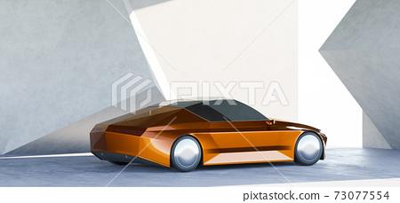 Brandless sport car park at a modern garage. 3d rendering 73077554