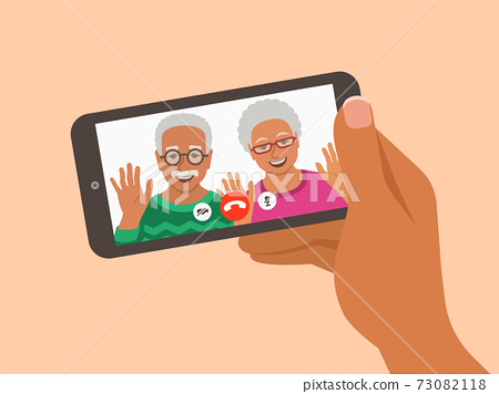 Family online video call smartphone illustration 73082118