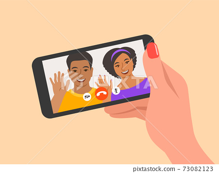 Online video call by smartphone flat illustration 73082123