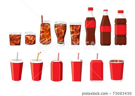 Soft drink bottle and glass set vector illustration. 73083430
