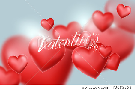 Valentines Day and Wedding background. 3d red heart balloon floating in the sky. Vector illustration 73085553
