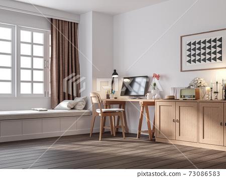 Vintage style working corner 3d render 73086583