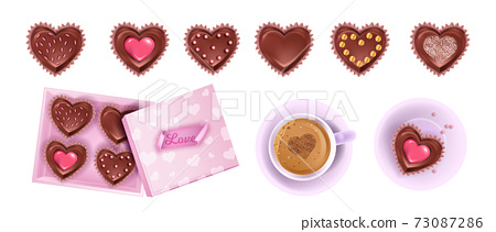 Valentines Day gift vector chocolate dessert collection with heart candies, opened box, coffee cup 73087286
