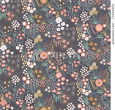 Flower field pastel colors on dark seamless vector pattern. Repeating liberty doodle flower meadow 73090668